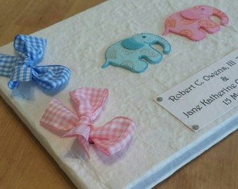 Personalized New Baby Twins Girl and Boy Memory Book