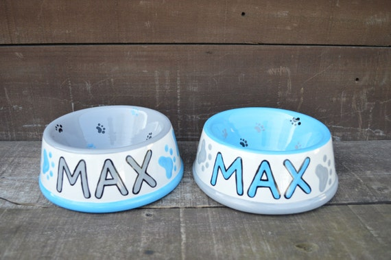 Max Custom Ceramic Dog Or Pet Bowl Set Of Two Paw Print
