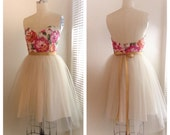 Floral tulle dress bridesmaid party dress