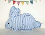 Bunny Rabbit Nursery Pillow - Seersucker and Minky