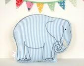 Elephant Nursery Pillow ~ Hand-Embroidered ~ New Baby Gift ~ Nursery Decor ~ Seersucker ~ Blue and White ~ Stuffed Animal Pillow