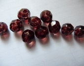 Bead, Czech, Fire-Polished, Dipped, Décor Glass, Brown, 8mm, Faceted, Round, Pkg Of 14