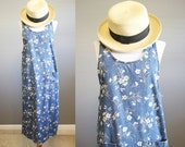 Floral Denim Dress Vintage Jumper Blue Jean Farm Country Small
