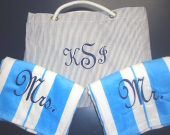 2 Beach Towels and Beach Bag Personalized **SALE**, Bride and Groom Gift, Mr Mrs Gift, Wedding Gift, Bridal Shower Gift, Honeymoon Gift