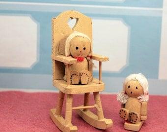 Dollhouse Peg Dolls Wood Figurines Yarn Hair Rocking Chair