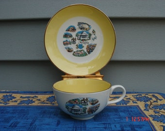 Vintage Collectible Ceramic Souvenir Arizona Cup and Saucer  -Very Nice
