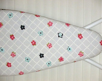 Ironing Board Cover - Standard size - Quatrefoil - Moroccan Lattice - Grey and White Floral
