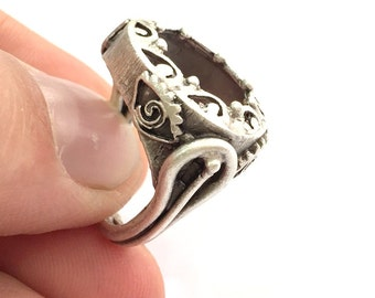 Adjustable Ring Blank (16mm Blank) , Antique Silver Plated Brass G3456
