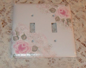 Shabby Cottage Chic Hand Painted Pale Rose Double Light Switch Cover