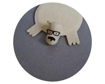 Bear Rug Coaster with Eyeglasses