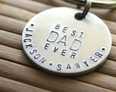 Hand Stamped Best Dad Ever Key Chain