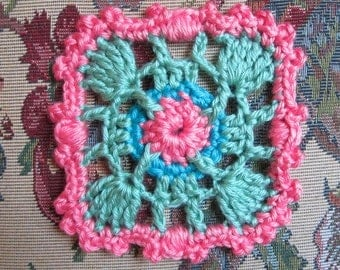 "Crochet 5"" (13 cm) Granny Square Pattern, Palms and Coconuts JAYGO PDF Pattern"