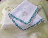 Mother of the Bride, Mother of the Groom Handkerchief, Hanky, Hankie, Hand Crochet, Aqua, Pink, Lace, Embroidered, Personalized, Custom