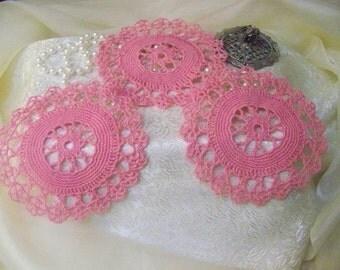 Crochet Doilies, Doily, Lace, Pink, Home Decor, Victorian, Hand crochet, Lacy, Table topper, Centerpiece, Girls, Set