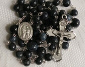 Custom Five Decade Catholic Father's/Grandfather's Rosary - Your Choice of Pewter St. Joachim or St. Joseph Center and 5 Natural Gemstones