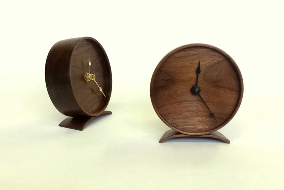 Wood Clock - Solid walnut with black or white clock hands