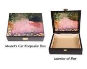 Claude Monet's Cat Keepsake Box, Black Cat Art,Large Wooden Memory Box, Pet Memorial, Cat Artwork, Deborah Julian