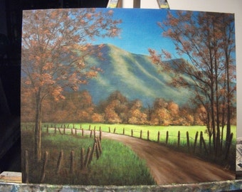 Smokey Mountains, Road, Trail, Path, Fall, Autumn, Fence, Original Landscape Oil Painting