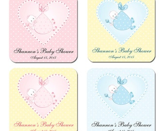 Personalized Baby in Heart Baby Shower Designer Labels - 100 GLOSSY Square Stickers 2 Inch or 2.5 Inch or 3 Inch