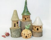 Garden Fairy Houses Set of 4 - Going Green - Eco Friendly - No Chimney - Goe-thermal - Ready to Ship -- Handmade on Potters Wheel