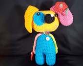 Hand Crocheted Puppy Dog -Rainbow Color - Cotton Yarn