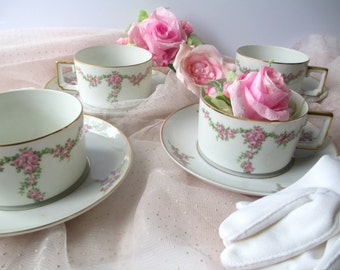 Antique Teacups and Saucers Heinrich Imperial Bavarian Pink Rose Set of Four