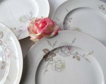 Vintage Johann Haviland Sweetheart Rose Bavarian Dinner Plates Set of Four