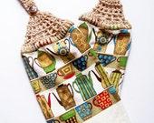 Crochet Top Towel Coffee Dish Towel Christmas Gift Hanging Dish Towel Mocha Hand Towel Housewarming Gift