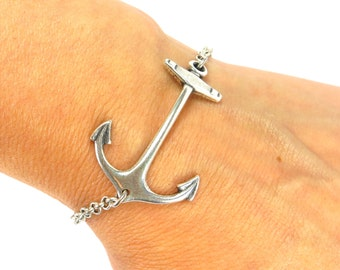 Steampunk Anchor Bracelet- Sterling Silver Ox or Antiqued Brass Ox Finish- Personalized Bracelet