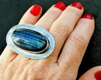 Blue Labradorite Ring, Sterling Silver Ring, Boho Chic Ring, Blue Stone Ring, Statement Ring, Chunky Ring, Large Ring, Gemstone Ring