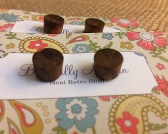 Bohemian Wood Stud Earrings - Dark Brown