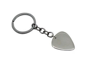 Guitar Pick KeyChain, silver guitar pick, silver guitar pick keychain, guitar pick keyring, silver guitar pick, guitar pick, silver pick