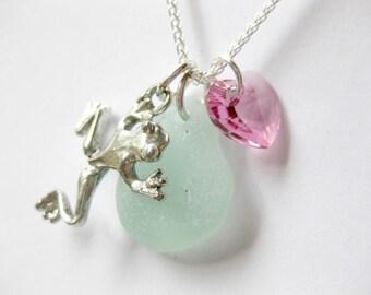 Frog Jewelry sea glass necklace seaglass jewelry