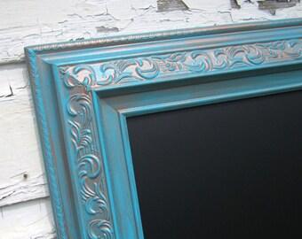 "MAGNETIC FRAMED CHALKBOARD Oxidized Copper Patina Weathered Verdigris Frame Chalkboard 30""x26"" Turquoise Blackboard Decor Framed Chalk board"