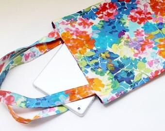 Flat Tote Bag / Handbag / School Bag / Eco bag - Flower Print