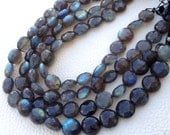 Brand New, AAA Rare BLUE Flashy LABRADORITE Faceted Coin Briolettes,9-10mm Long Size, Full 10 Inch Long Strand,Amazing Item