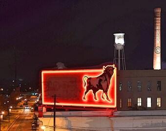 """Durham Bull Neon Sign North Carolina Night Smokestack Water Tower Lights Photography Wall Art """"Durham Bull"""""""