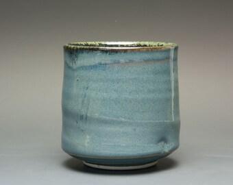 Porcelain tea cup tea bowl blue Japanese turquoise yunomi 12 oz. 2428