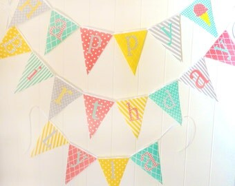 Personalized Fabric Pennant Flags, Baby Name Banner, Photo Prop, Nursery Custom Letters, Baby Shower, Christening Baptism, coral yellow mint