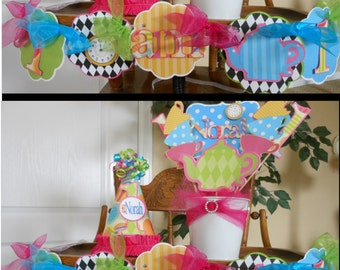 Alice in wonderland High chair banner, One banner, tea party birthday, 1st birthday decorations