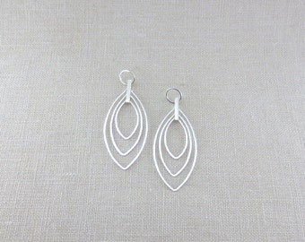 Modern Abstract Leaf Dangles Sterling Silver Large Statement Earrings