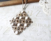 LUCY in the sky with diamonds oversized vintage chainmail diamond shaped pendant necklace (mixed silver and gold)