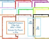 Digital Clip Art Scrapbook Frames, Torn Edge Paper, 18 PNG plus 18 JPG, Instant Digital Download