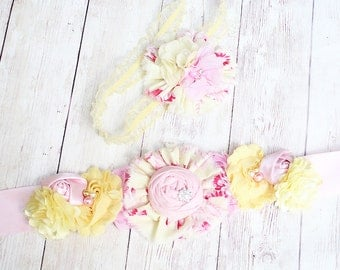 Pink Lemonade Promenade- bright pink and yellow ruffle and rosette headband and or sash