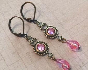 Rose Pink Crystal  Antiqued Brass Filigree Leverback Earrings