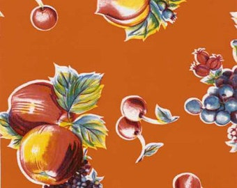 Pears and Apples on Orange Oilcloth, Yardage