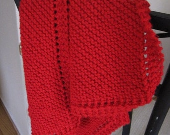 Knit baby blanket smaller sized acrylic yarn (red)