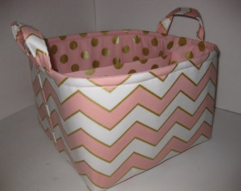 Large Diaper Caddy 10 x 10 x 7 / Organizer Bin / Coral Pink Gold Chevron Polka Dots