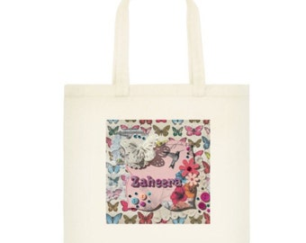 Personalised Tote bag, Girls Gift idea, butterfly, name tote, shopping tote, cool tote bag,  colourful bag, reusable  bag, cotton bag.
