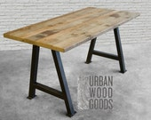 Reclaimed wood desk with steel A-frame legs in choice of sizes or finishes